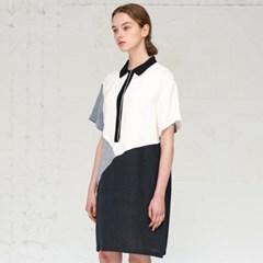 [JBREFINE] 니트 시보리 칼라 롱 기장 셔츠