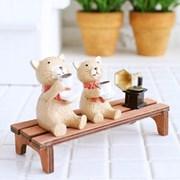 벤치 고양이 커피 4p 미니어처_(1599565)