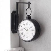 로마숫자 블랙 빈티지 벽걸이 양면시계_(1599528)