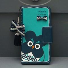 갤럭시S7엣지 (G935) HippieChouette-Blue 지갑 다이어리 케이스
