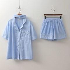 Gingham Pajamas Set - 커플룩,헤어밴드포함