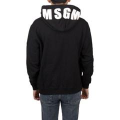 19SS MSGM 오버사이즈 로고 후드 (블랙/남성) 2640MM177 299 99
