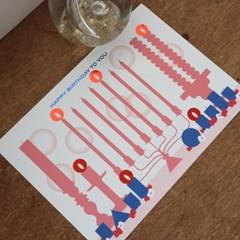 Birthday Card with Candle light sticker - ver.2 (생일카드)