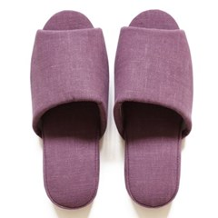 purple linen slipper
