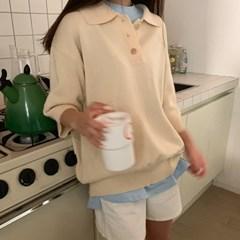 Creamy button collar knit_K_(1309620)