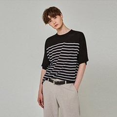 LIGHT ST KNIT HALF T-SHIRTS_BLACK