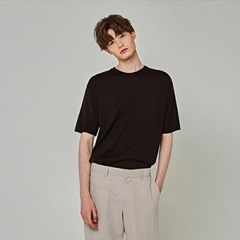 SUMMER KNIT HALF T-SHIRTS_BLACK