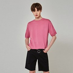 SUMMER KNIT HALF T-SHIRTS_PINK