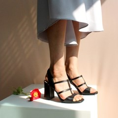 Wave T-strap Sandle Black_6,8cm(소가죽)