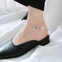 (92.5 silver) circle charms anklet