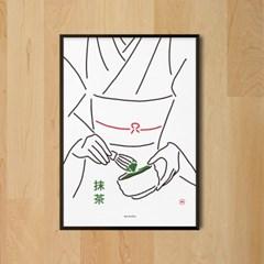 유니크 일본 인테리어 디자인 포스터 M 말차2 녹차 카페