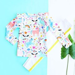 프린트 러플넥 아동 래쉬가드 티셔츠 IB2SR585G