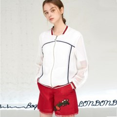 [JBREFINE] 니트 시보리 원단 믹스 소매 셔링 자켓