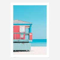 여름 바다 해변 풍경 포스터 vol.1_SB03(핑크 라이프가드 타워)