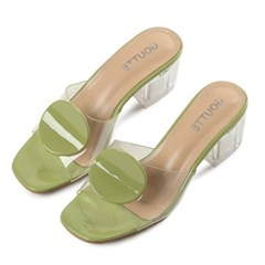 kami et muse Enamel circle point clear heel slippers_KM19s230