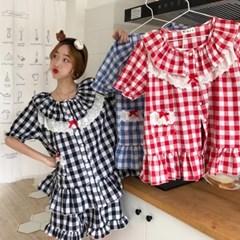 [안녕잘자] 당일발송 리본체크 여름반팔 잠옷세트