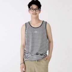 슬리버 3901 스트라이프 민소매 티셔츠 멜란지그레이