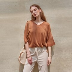 MOIST V-NECK HALF TEE_BROWN