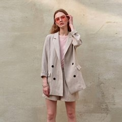 DOUBLE BREASTED LINEN JACKET_DARK BEIGE