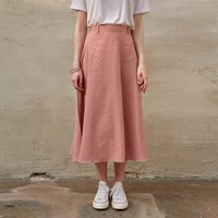 COTTON FLARE MIDI SKIRT_PINK