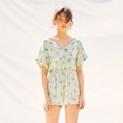 [Mini Jumpsuit] Palmtree - Cream Lemon
