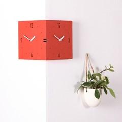 벽면 코너를 활용한 독특한 디자인의 코너벽시계 빅사이즈 레드