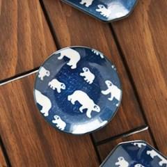 일본식기 북극곰 원형접시 10cm_(1320347)