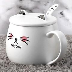 MODERN CAFE CERAMIC 캣츠 머그컵 세라믹캡 스푼포함