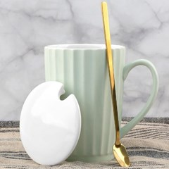 모던 CAFE CERAMIC 머핀 머그컵 세라믹캡 스푼포함 색상랜덤