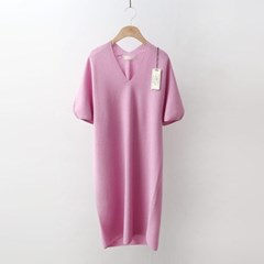 Hoega Linen Puff V-Neck Knit Dress