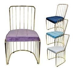 웨어하우스 하프 벨벳 골드 철제 의자