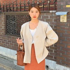 Hide linen collarless jacket_S (린넨 70%)_(1343470)