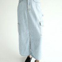 vintage pocket detail denim skirts_(1279610)