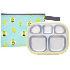 꿀벌대모험 일자형 옐로우 유아식판 뚜껑+파우치 포함