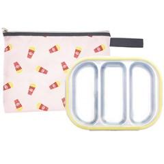 팝핑팝콘 3구 옐로우 유아식판 뚜껑+파우치 포함