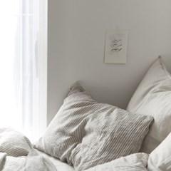 FRENCH FLAT SHEET Gray stripe