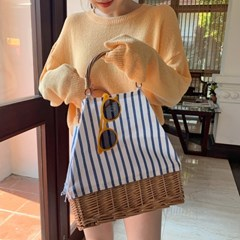Rattan stripe tote bag_Y_(1333736)