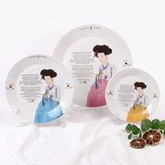 신윤복 미인도 전통기법 도자기 원형접시 홈 식기세트