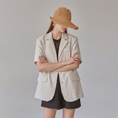 NATURAL SINGLE HALF JACKET_LIGHT BEIGE