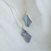 다각형 자개 목걸이 polygon shell necklace (2col)