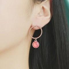 [은침 패션귀걸이] 핑크 코인 언발 로즈골드 OTET19533QPP
