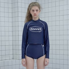Original crop rash guard set-navy_(1183498)