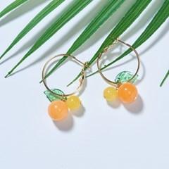 오렌지 레몬 원석 링귀걸이
