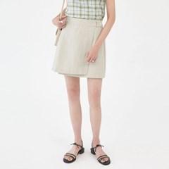 linen botton cross mini skirt_(1283449)