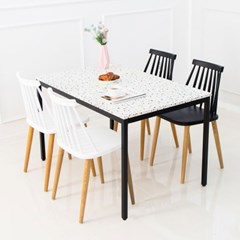 테라조 4인 식탁세트 테이블 마블 대리석st 화이트마블