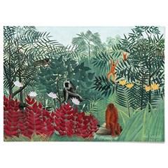패브릭 포스터 원숭이 그림 일러스트 액자 앙리 루소 2