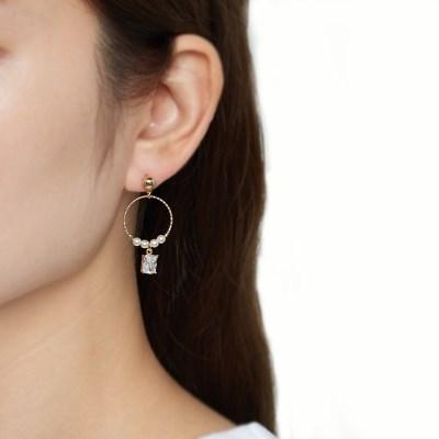 칼라 크리스탈 진주 귀걸이