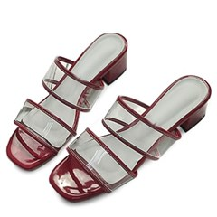 kami et muse 4cm middle heel clear strap slippers _KM19s261