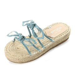 kami et muse Tied clear ribbon espadrille slippers_KM19s259