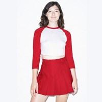 3/4 래글런 크롭 티셔츠 화이트/레드 RSABB354W